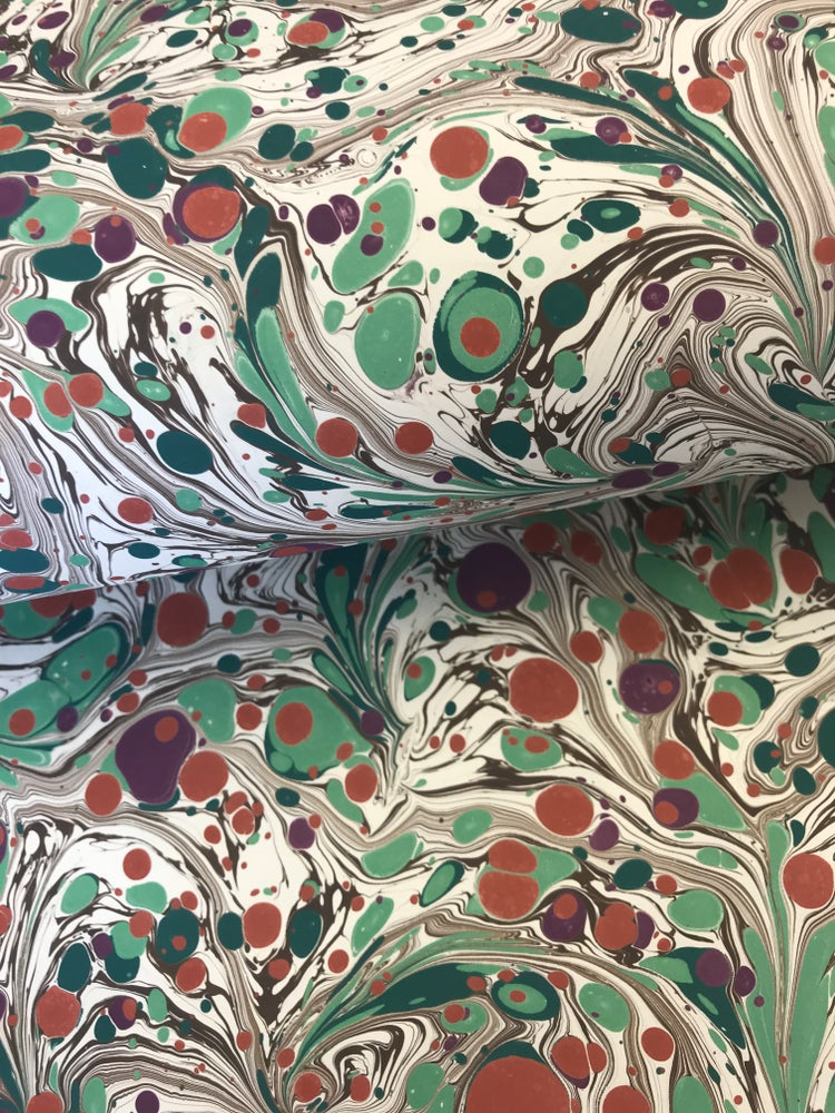 Image of Marbled Paper #13 'Floral Botanical' Marbled Paper