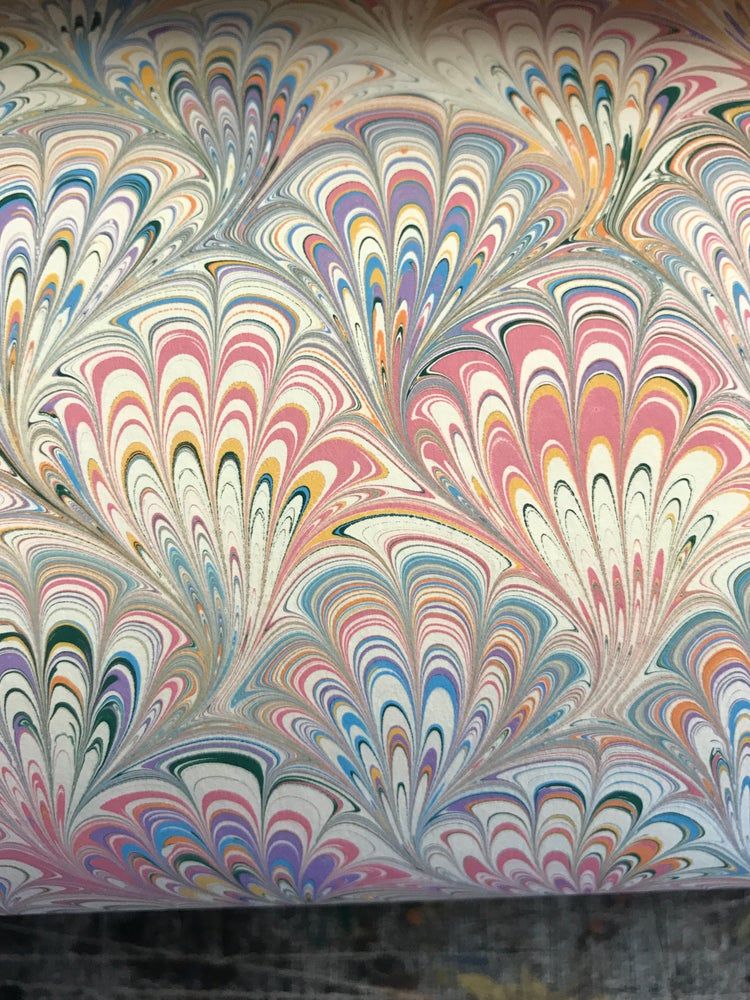 Image of Marbled Paper #42 peacock design
