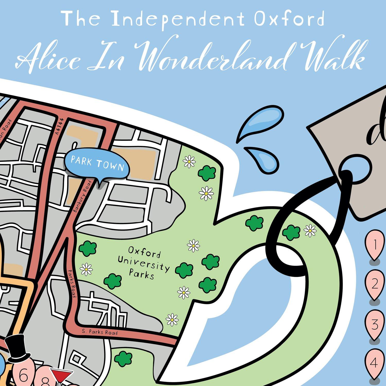Image of Alice in Wonderland Walk Indie Oxford Map *Downloadable*