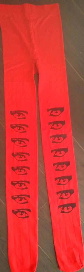Image of Siouxsie Eyes hand printed tights by gothmommy OSFA