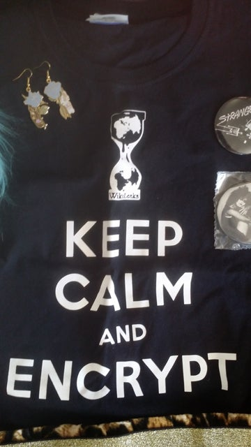 "Image of Wikileaks size small ""Keep Calm and Encrypt"" t shirt"