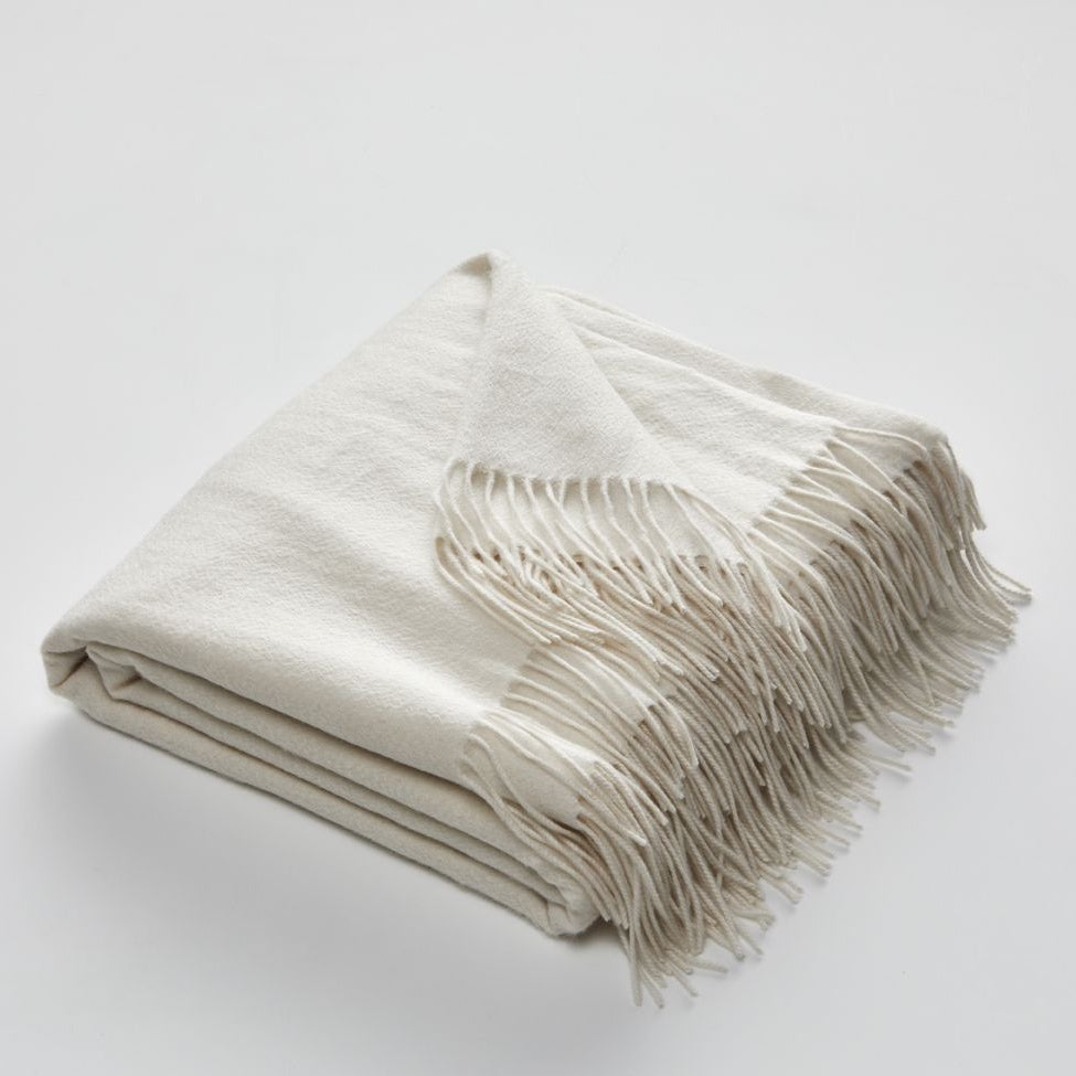 Image of Fringed Cashmere Throw in Ecru