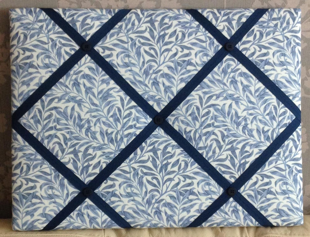 Image of William Morris 'Blue Willow' fabric Memo Board