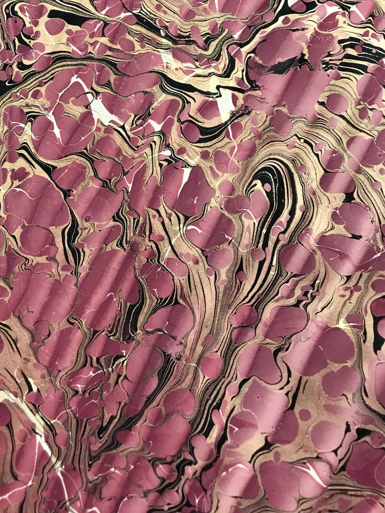 Image of Marbled Paper #7 'Double Marble' Spanish Ripple' in Plum