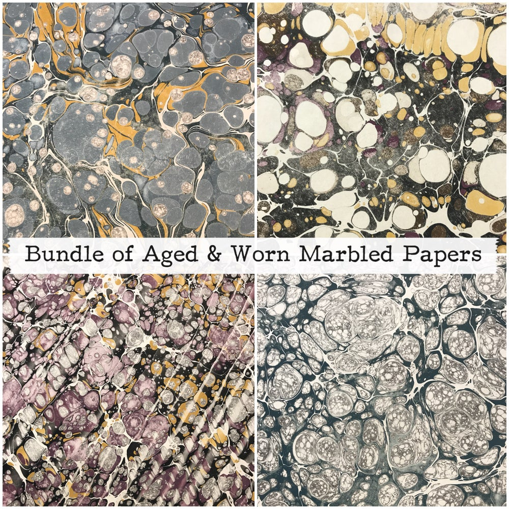 Image of Aged & Worn Assorted Marbled paper bundle - 10 sheets // Historic designs and colour-ways