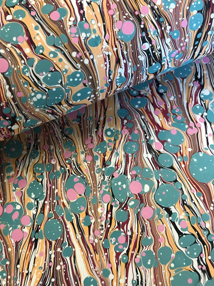 Image of Marbled Paper #23 turquoise spot