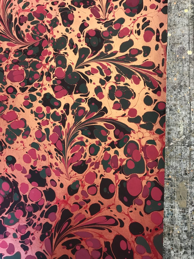 Image of Marbled Paper #45 gold modern floral on red