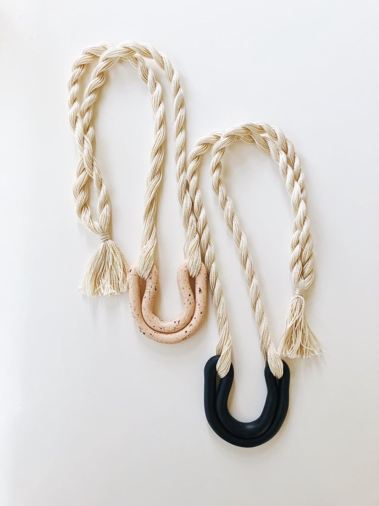 Image of black double arc necklace