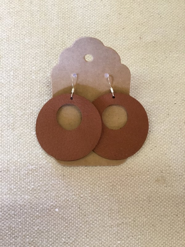 Image of Leather Earrings - Circle Cutouts