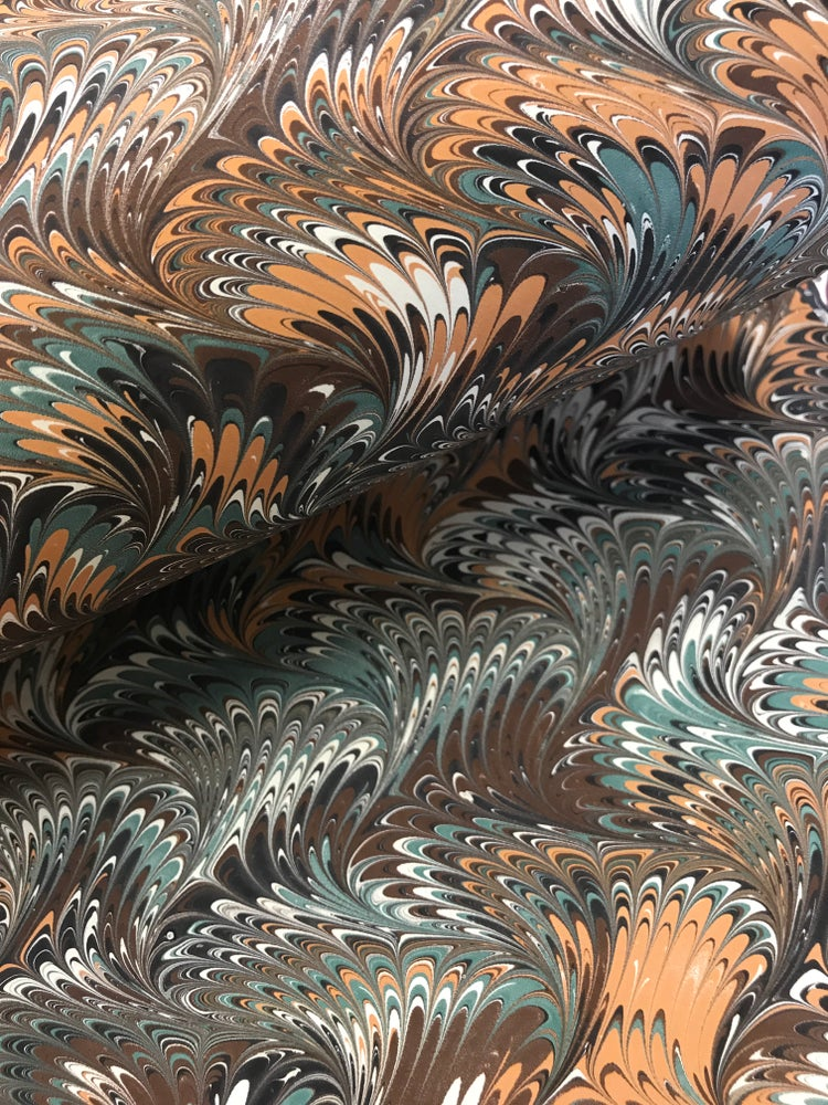 Image of Marbled Paper #41 green and brown traditional wave