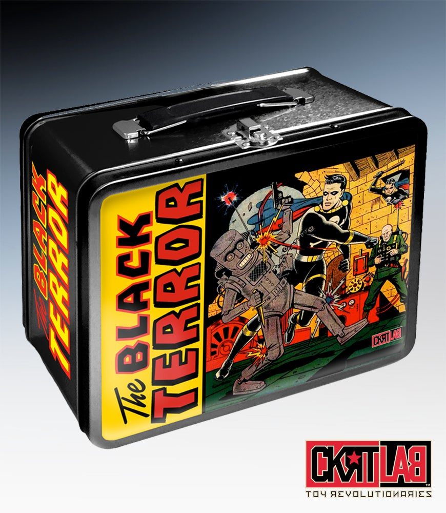 Image of THE BLACK TERROR Retro-styled Lunchbox with BLACK TERROR VINYL FIGURE