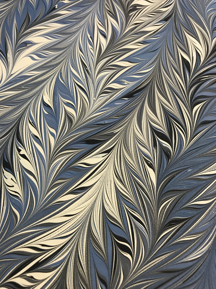 Image of Marbled Paper #56 intricate comb blue