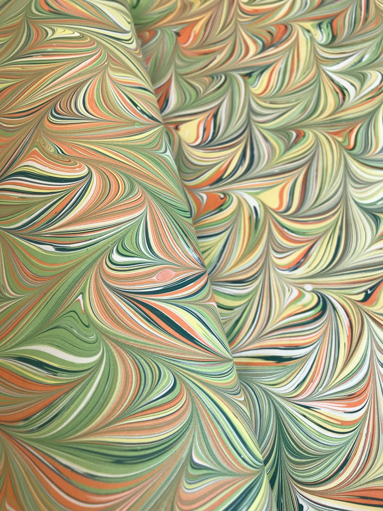 Image of Marbled Paper #61 - Combed design - spring colour palette