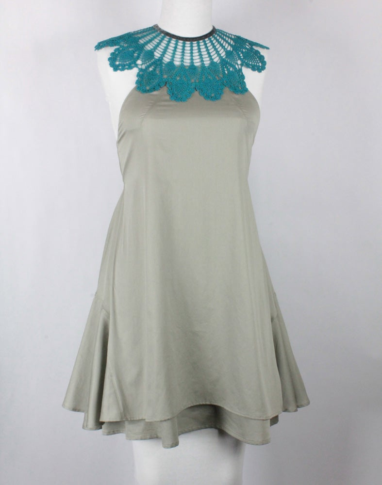 Image of Turquoise and Pearl Gray Monique Dress