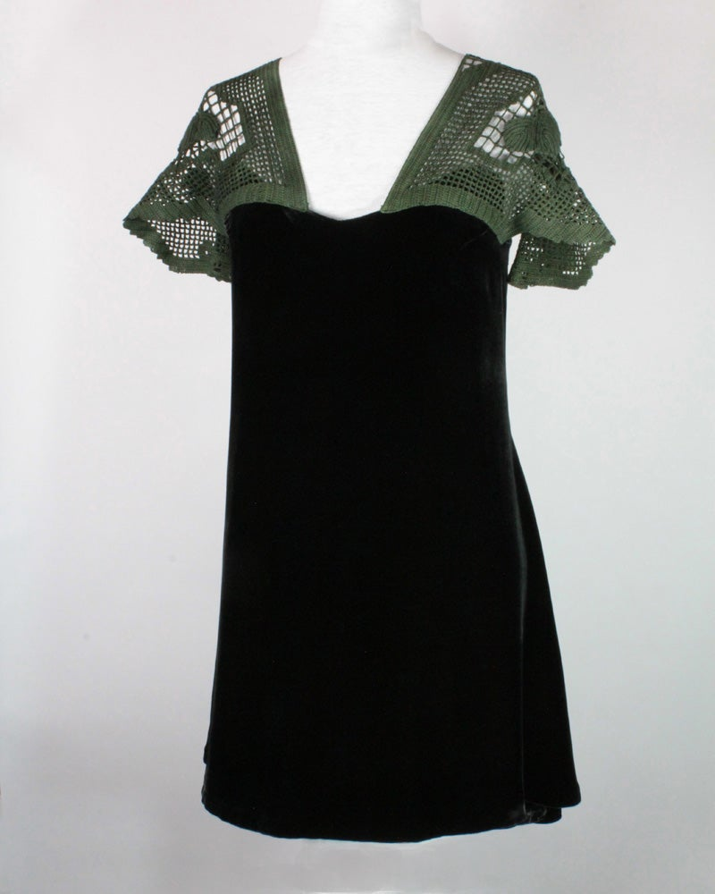 Image of  Charcoal Velvet and Forest Emma Dress