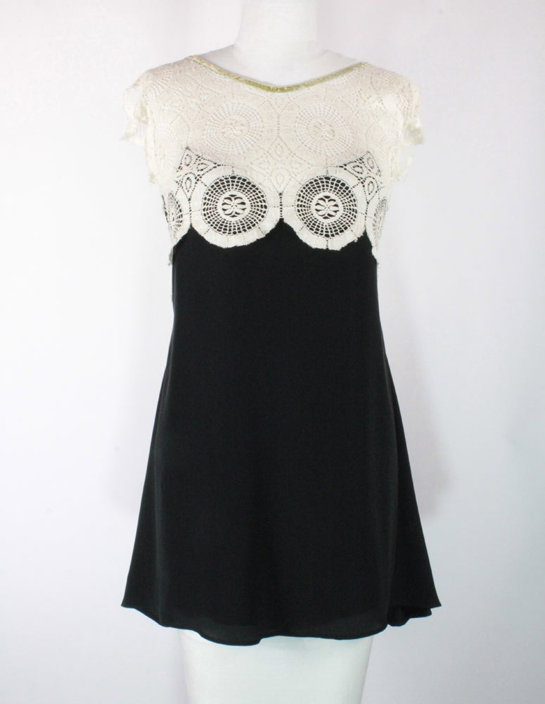 Image of Noir and Cream with Velvet Ribbon Emma Dress