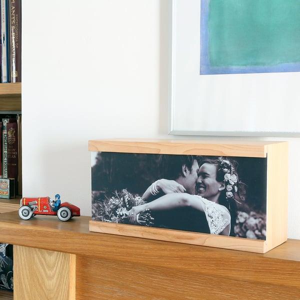 Image of  Personalised Wedding Photo Wooden Light Box