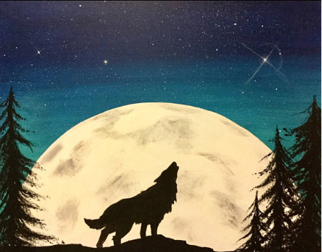 Image of (glow in the dark) Howling at the Moon Thursday 16th August 7 -9pm