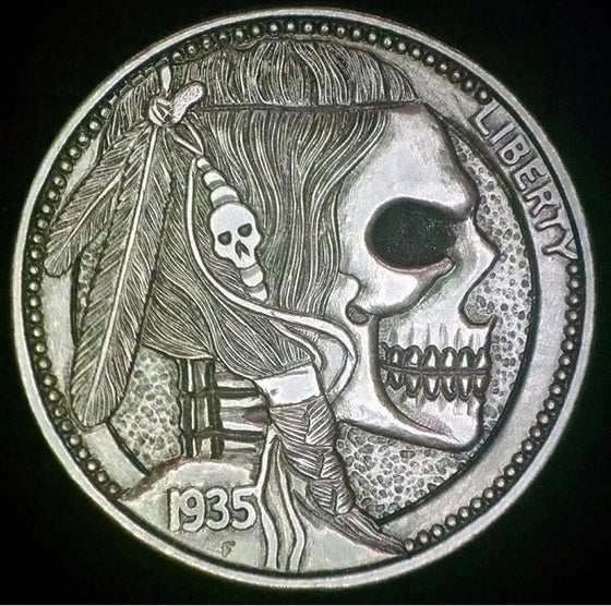 Image of Indian Skull Nickel with hair and border