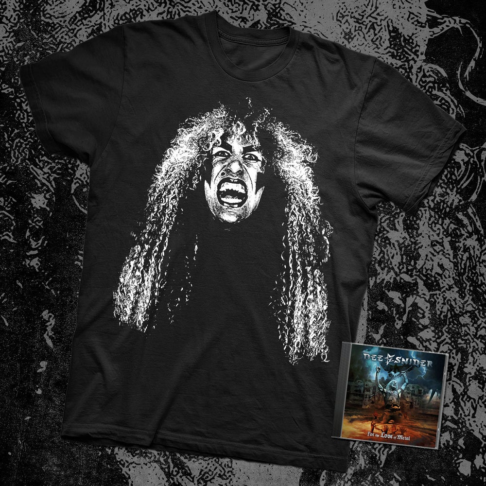Image of DEE SNIDER B&W FACE SHIRT + AUTOGRAPHED FTLOM CD BUNDLE
