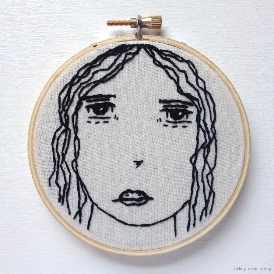 Image of Small Girl Embroidery Hoop Art