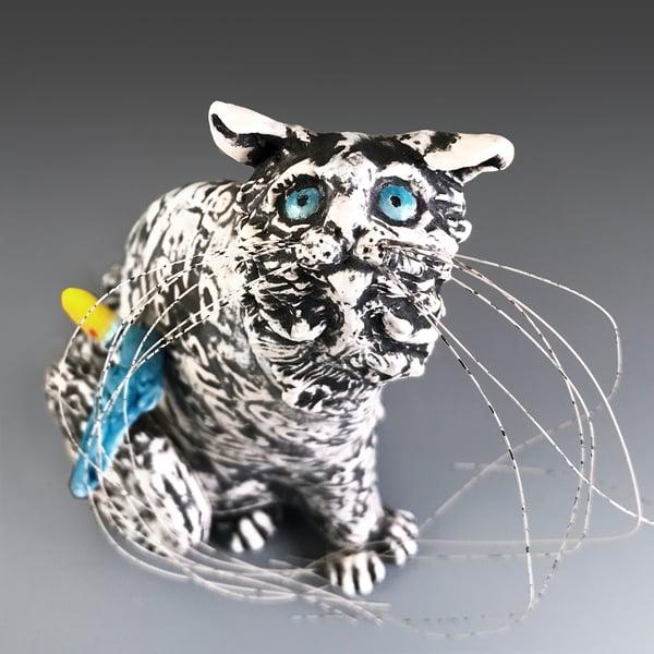 Image of Ceramic Cat and Bird Sculpture - Pick Me Mimmie
