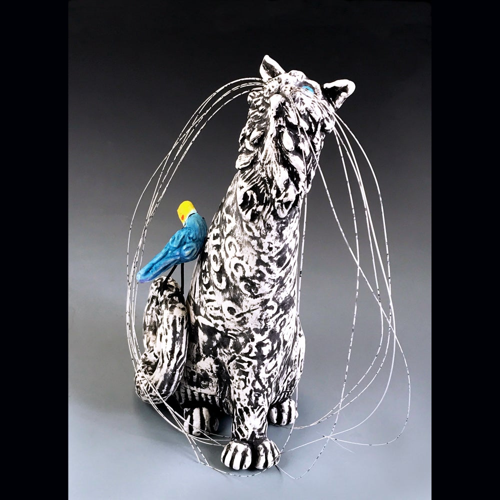 Image of Ceramic Cat and Bird Sculpture - Pick Me Mimmie