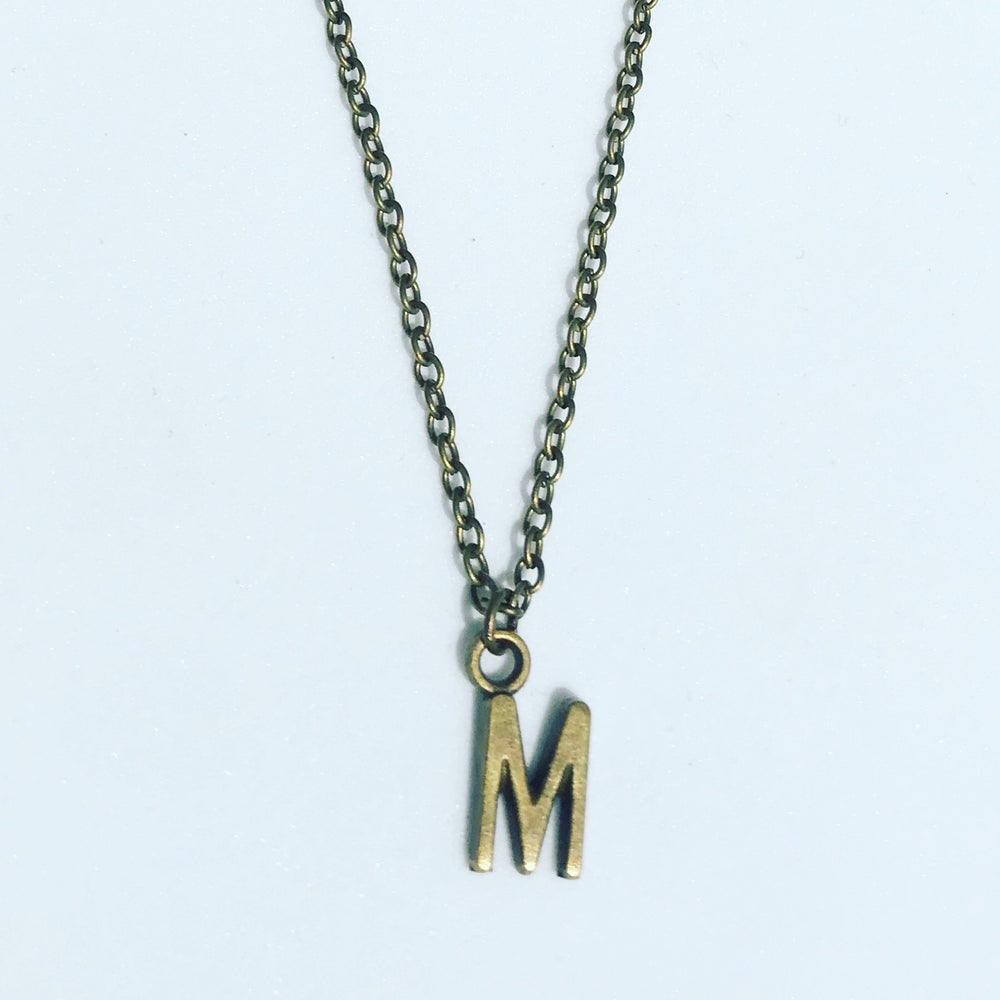 Image of Initial Charm Necklace - Silver or Antique Bronze