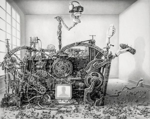 "Image of ""DEFAULT SETTING"" lithograph, Laurie Lipton"