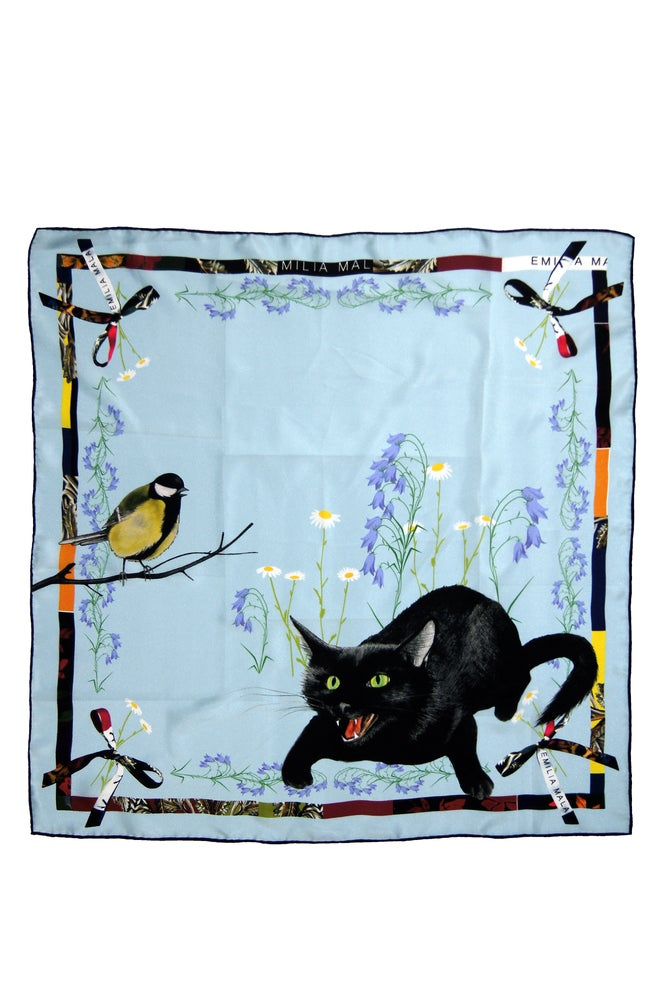 Image of Cat Sauvage Silk Scarf / Dawn