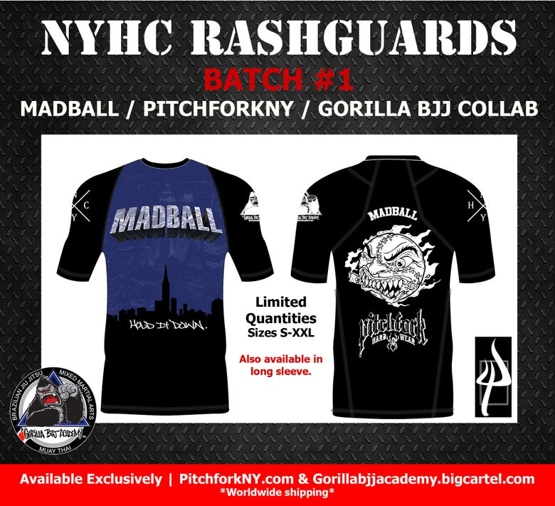 Image of NYHC Batch #1  Madball/ PitchforkNY/ Gorilla BJJ collaboration.