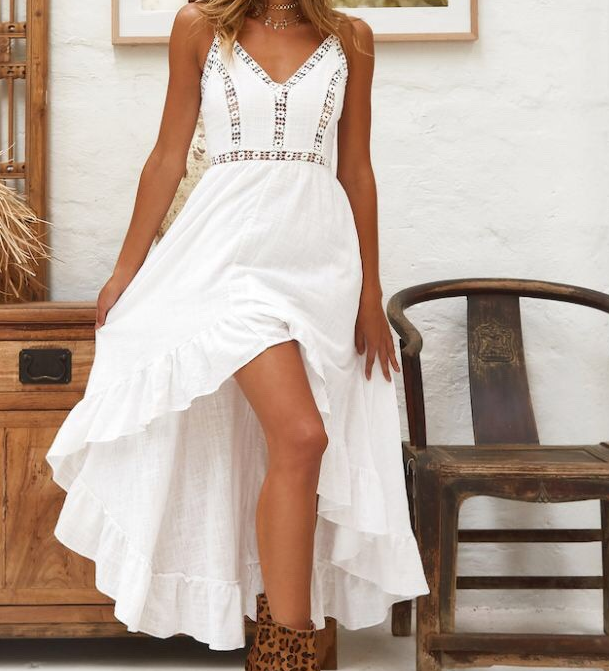Image of Halter v-neck sexy hollow-out lace waist dress