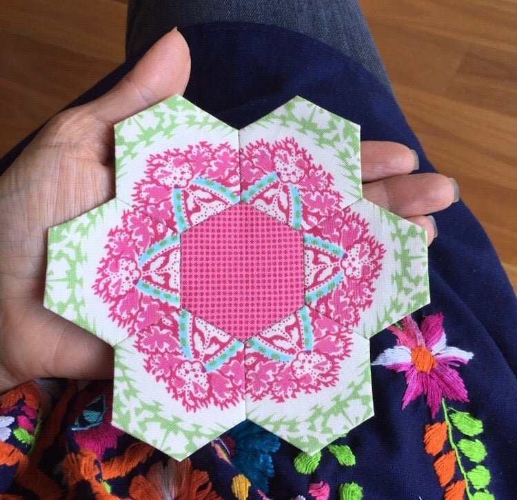 Image of paper piecing and hexagon making with Lorena ..Saturday July 28th 1-5pm