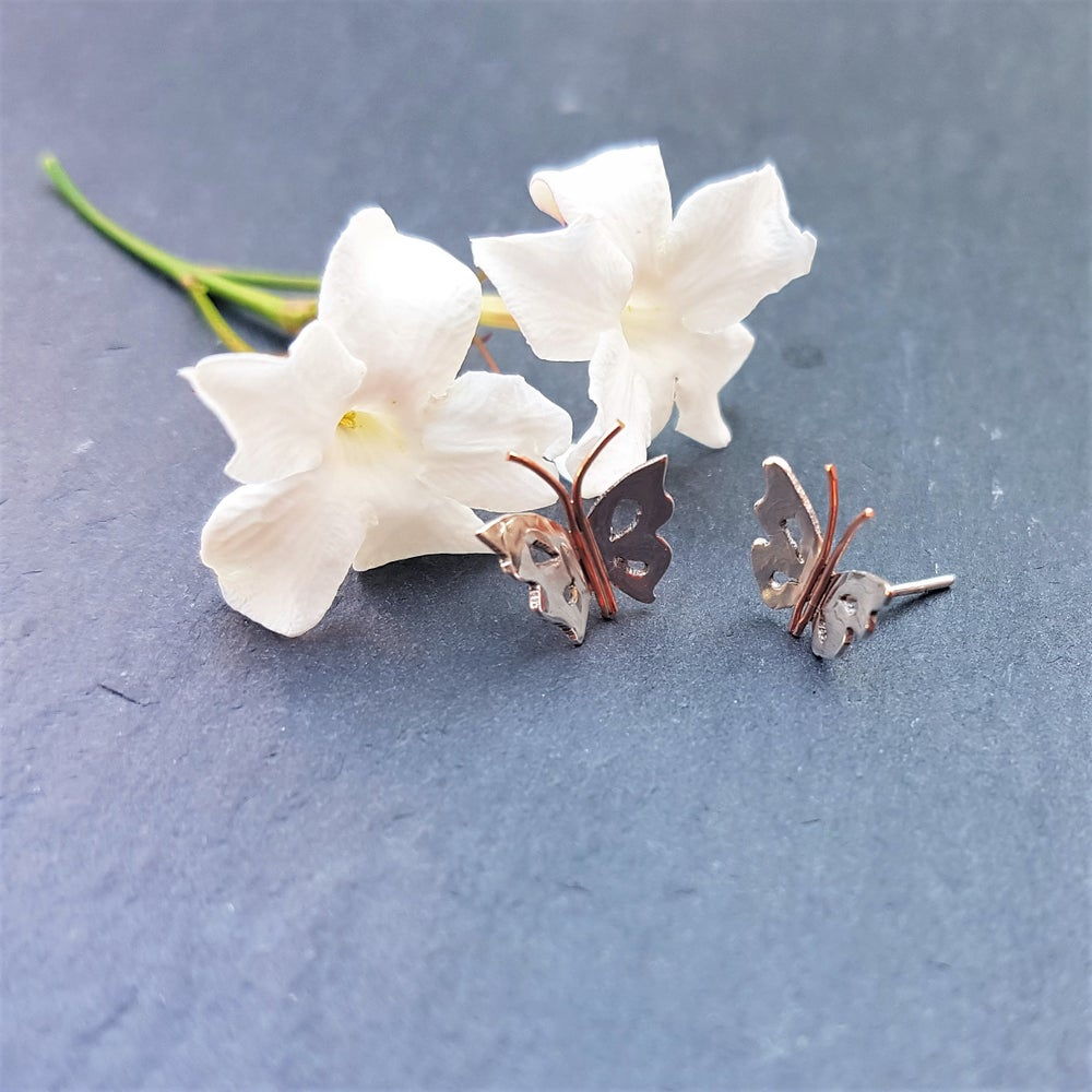 Image of Tiny Butterfly Silver & Copper Stud Earrings