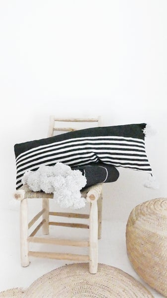 Image of Long Moroccan POM POM Cotton Pillow Cover - Black Stripes