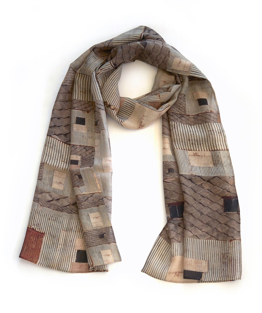 Image of Croft house silk scarf, chiffon wrap, taupe grey corrugated tile stripe pattern