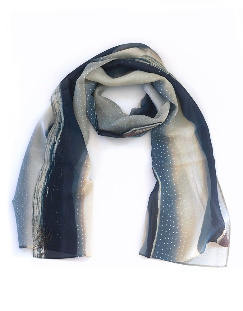 Image of Silk scarf, chiffon wrap, blue stripe seashore, raindrop silver storm, sea landscape Scotland
