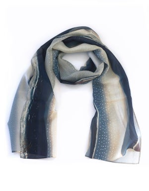Silk scarf, chiffon wrap, blue stripe seashore, raindrop silver storm, sea landscape Scotland - Red Ruby Rose
