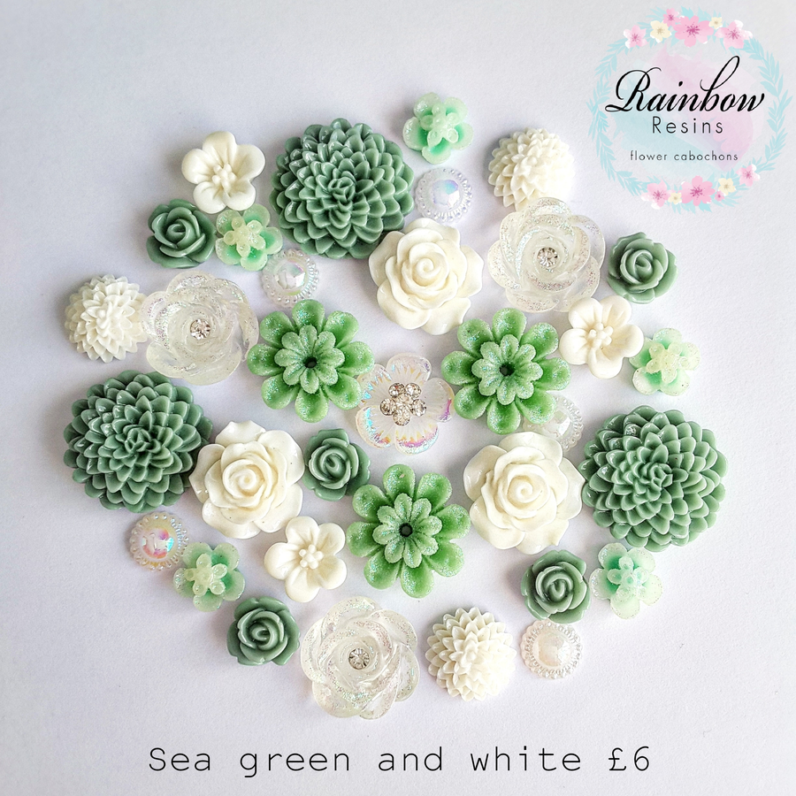Image of Sea green and white