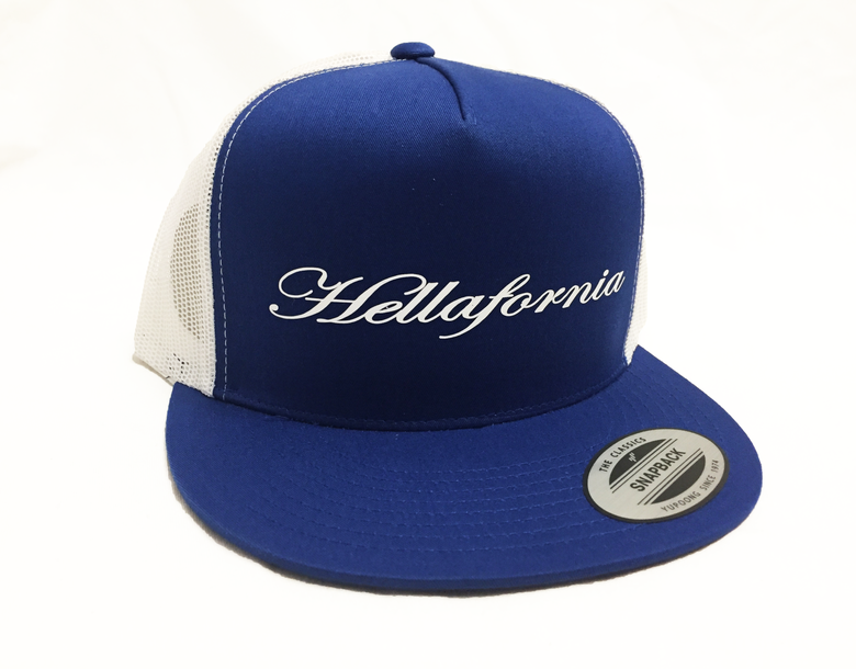 Image of Royal Blue & White Script Mesh Back Cap