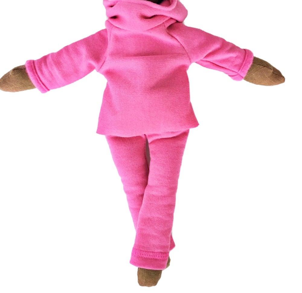 Image of Pink sweats w| hoody - 2pc Doll Accessory