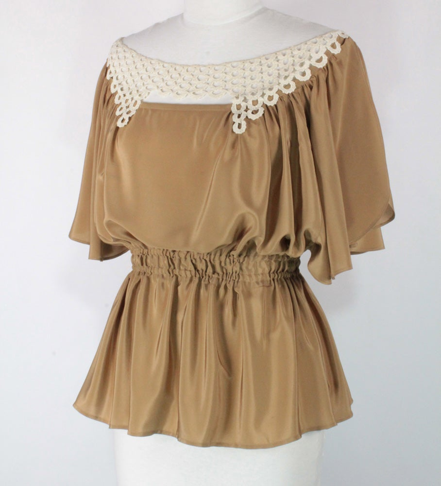 Image of Taupe and Cream Angela Blouse