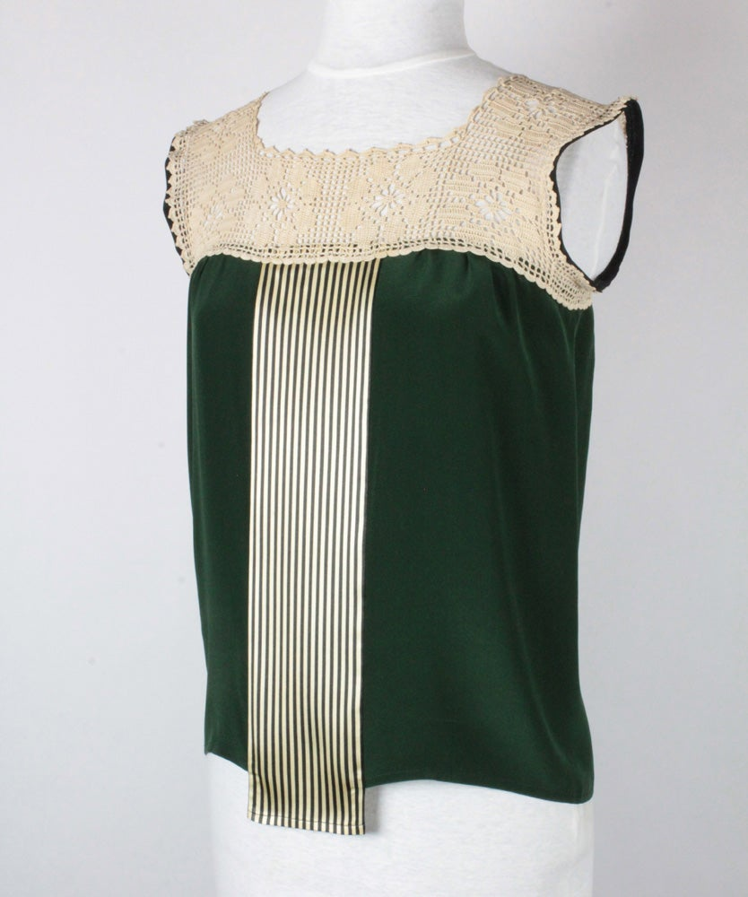 Image of Forest and Cream Nixie Blouse