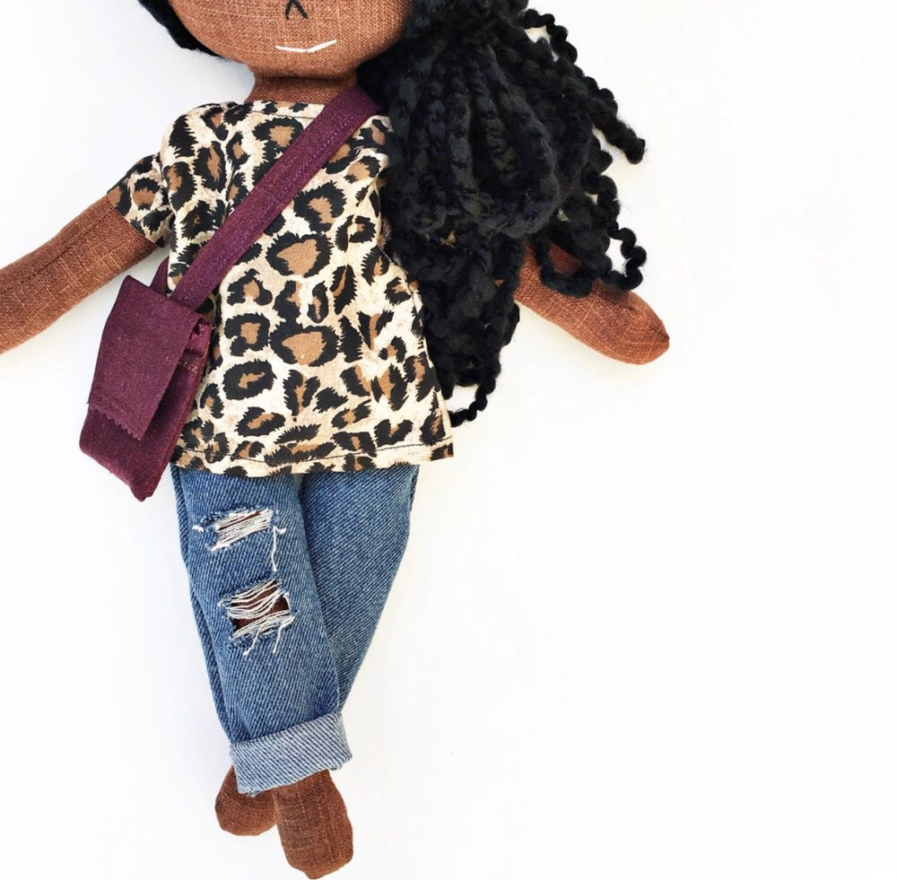 Image of 3pc animal print shirt w| distressed denim & crossbody - Doll Accessory