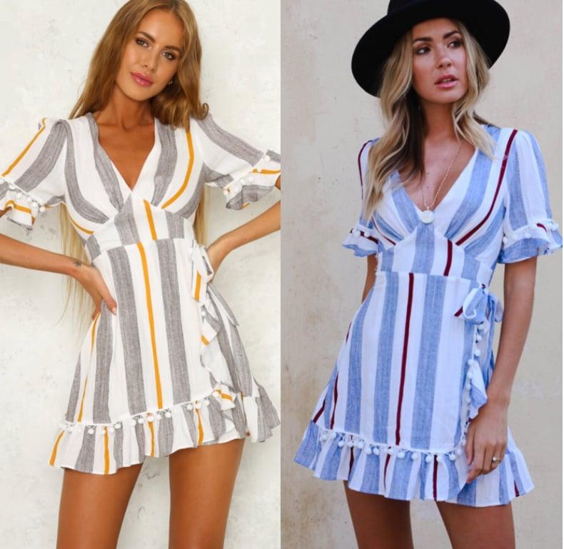 Image of The new print color stripe deep V waist short-sleeved dress