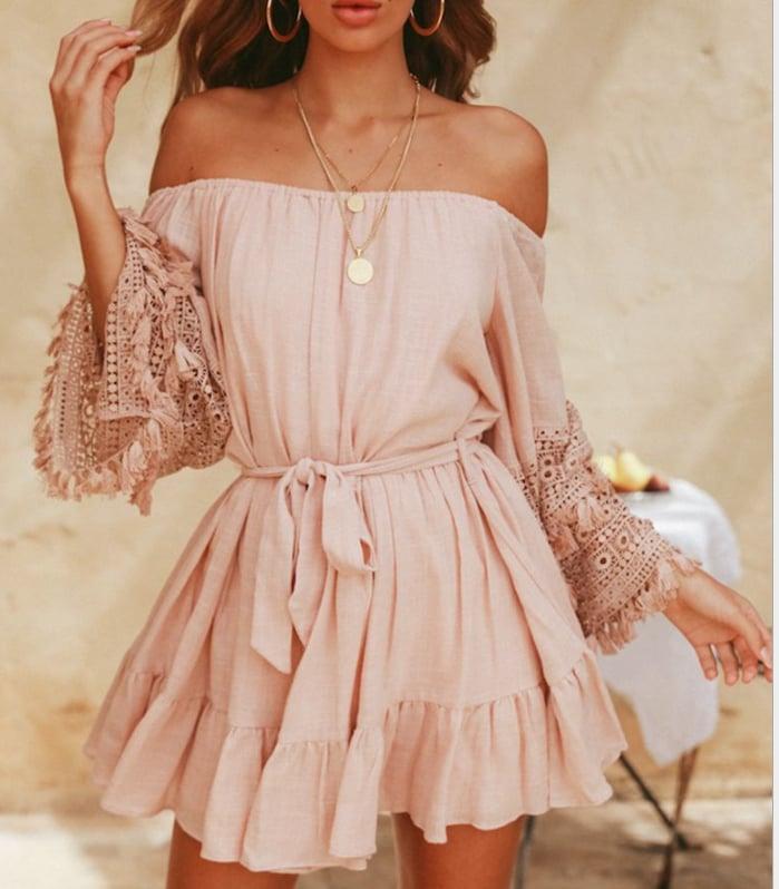Image of Hot style lace flared short-sleeved dress