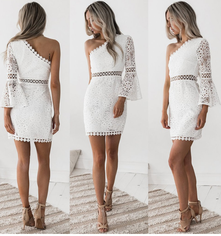 Image of Sexy slanted lace patchwork long sleeve dress