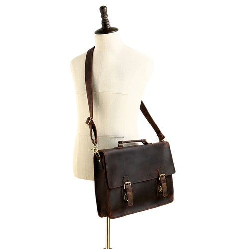 Image of 15'' Vintage Genuine Leather Briefcase, Messenger Bag, Laptop Bag 7035B-1