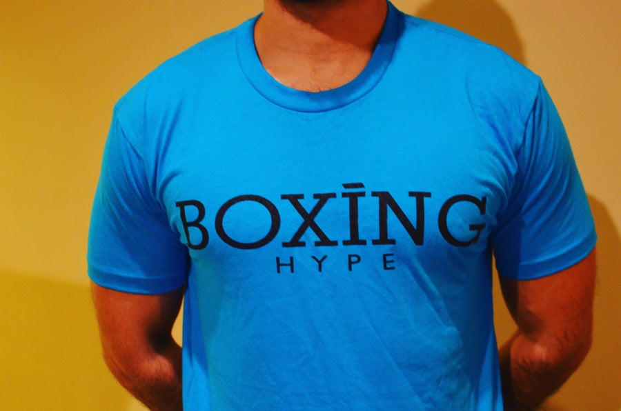 Image of Neon blue BoxingHype logo tees