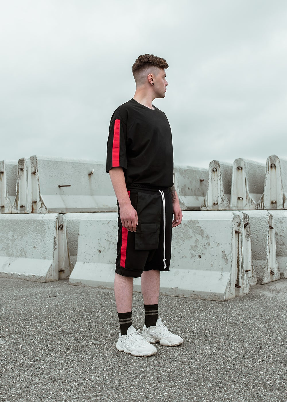 Image of Urban Flavours / U-F.studio Pocket stripe dropcrotch shorts